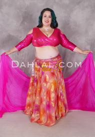 Dynasty VII Chiffon Skirt Shown With A Hot Pink Silk Veil