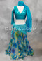 Teal Bellydance Skirt Shown With An Akhet Holographic Lycra Mock Wrap Top
