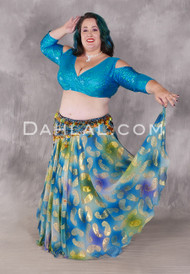 Double Chiffon Metallic Printed Skirt in Teal, Green and Royal Blue