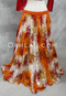 Temptress Double Chiffon Skirt in Orange, Red, White and Gold