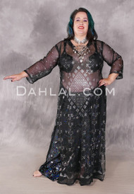 Black and Silver Assuit Caftan From Egypt