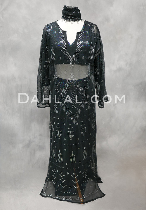 black and silver assuit caftan