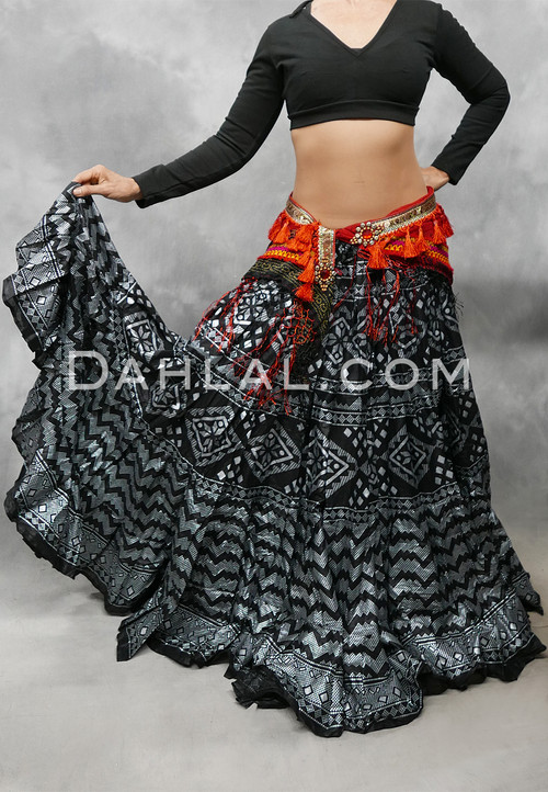 Black and Silver Screen Printed Faux Assuit Tribal Skirt