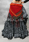 Back View with a Red Tribal Printed Shawl with Tassels