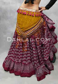 Wine and Silver Faux Assuit Tiered Skirt