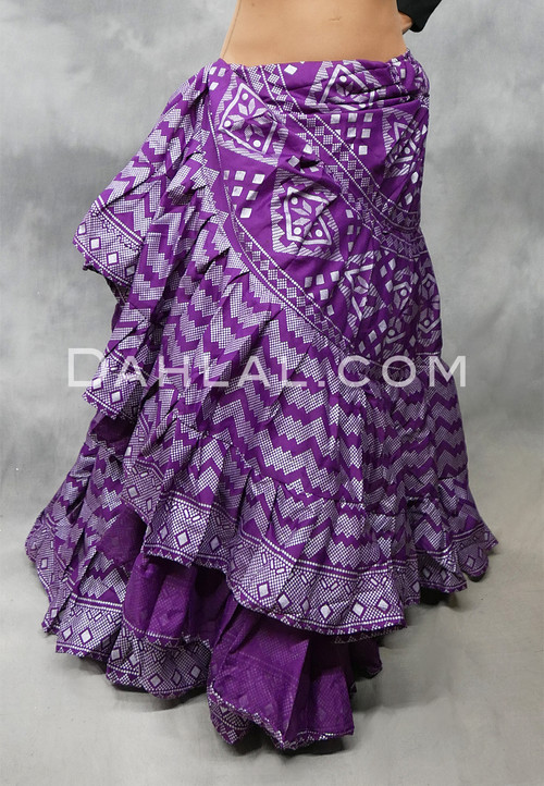 Magenta and Silver Faux Assuit Tiered Tribal Skirt