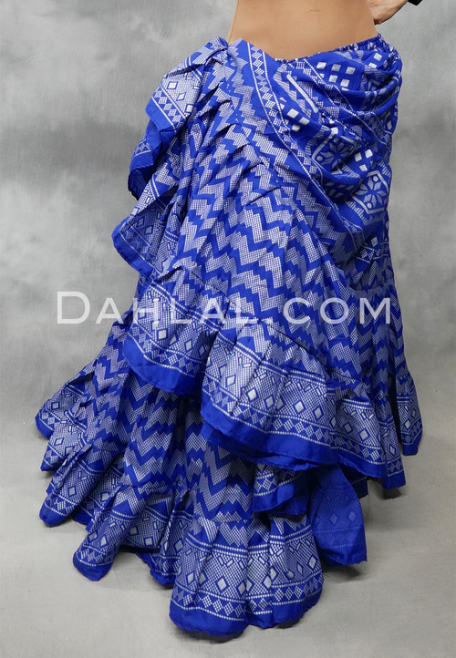 Royal Blue and Silver Faux Assuit 25 Yard Tribal Skirt