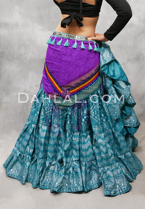 Teal and Silver Faux Assuit 25 Yard Tribal Skirt Shown with our Magenta Tribal Printed Shawl with Tassels