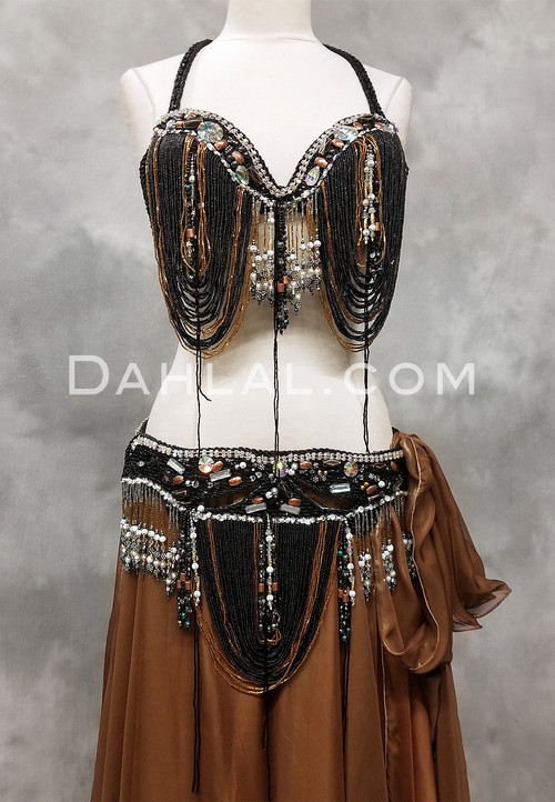 black and gold bra and belt set