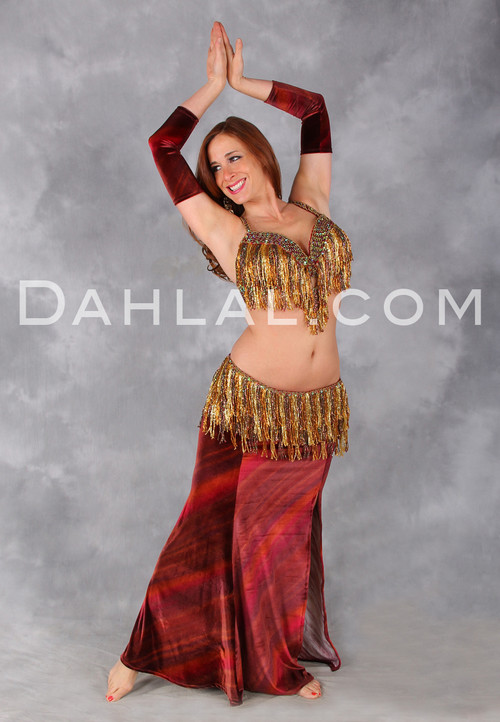 Red, Gold and Copper Beaded Egyptian Bra and Belt Set