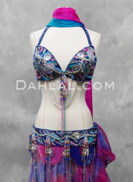 royal blue bra and belt set