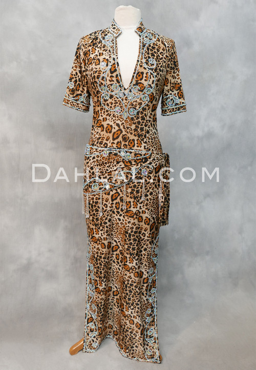 Wild About Fifi Leopard Print Egyptian Saidi Dress