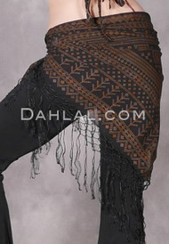 Black and Gold Faux Assuit Fringed Shawl
