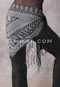 Black and Silver Faux Assuit Fringed Shawl