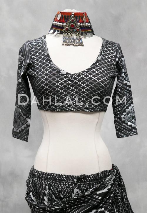 Black and Silver Faux Assuit Choli Top