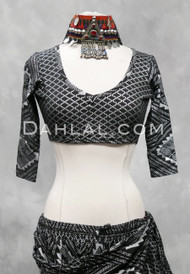 Black and Silver Faux Assuit Choli Top