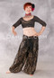 Front View of Black and Gold Top, Shawl and Style II Harem Pants