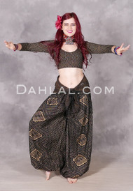 Front View with Faux Assuit Harem Pants in Black and Gold