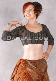 Faux Assuit Stretch Choli- Black and Gold