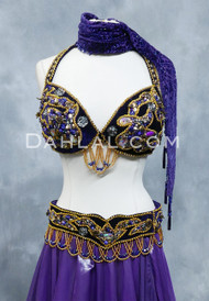 Purple and Gold Tribaret Velvet Bra and Belt Set