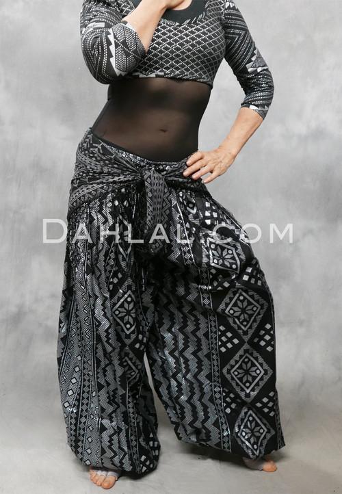 Black and Silver Faux Assuit II Harem Pants