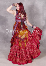 Sequined Sari Vest Shown with Faux Assuit Wine Skirt
