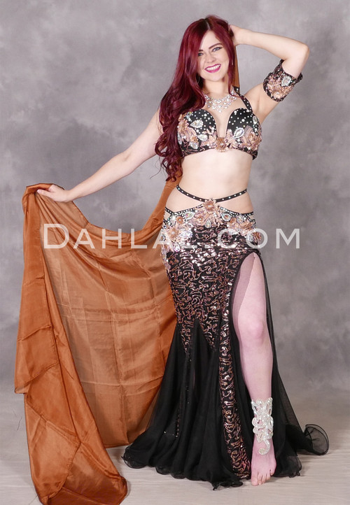 Goddess Divine Black Egyptian Beaded Costume by Mamdouh Morise