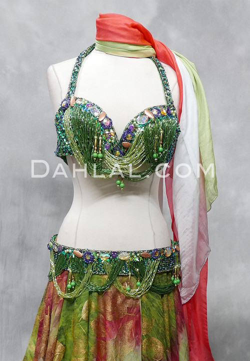 green bra and belt set