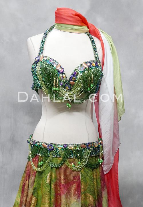 green bra and belt set
