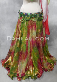 EARTHLY ENCHANTMENT- Green & Wine Chiffon Skirt