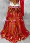 red and burnt orange chiffon skirt