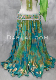 teal and green chiffon skirt