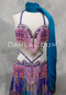 purple and pink bra and belt set
