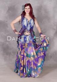 purple and teal chiffon skirt