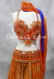 orange and gold bra and belt set