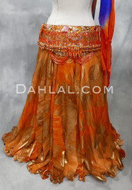 orange chiffon skirt