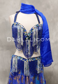 royal blue and silver bra and belt set