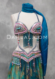 silver and turquoise bra and belt set
