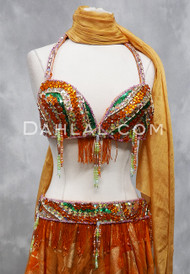 orange and green bra and belt set