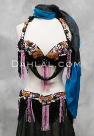 black and pink bra and belt set