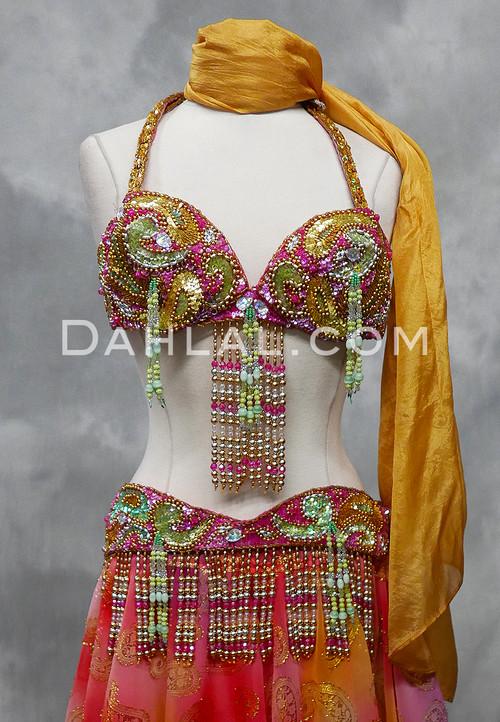 fuchsia and gold bra and belt set