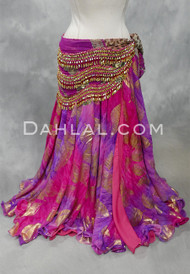 fuchsia and purple chiffon skirt