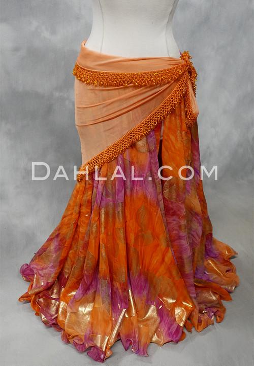 orange and fuchsia chiffon skirt