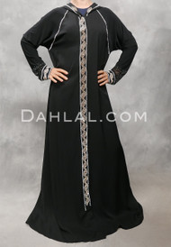 black with silver abaya