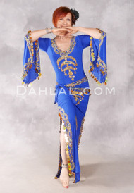 SAHARA NIGHTS- Royal Blue and Gold, Egyptian Belly Dance Dress