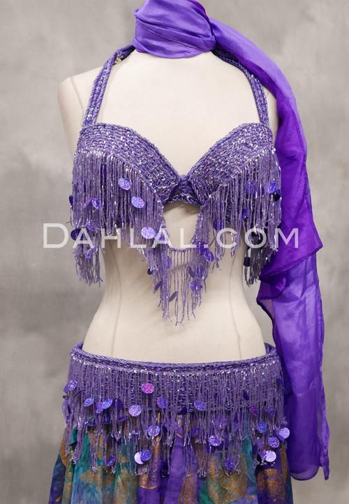 lavender bra and belt set