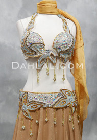 Egyptian Crystal and Gold Beaded Bra and Belt Set