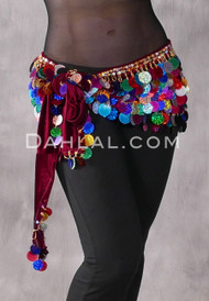 Egyptian Velvet Hip Wrap with Paillettes