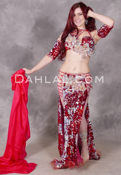 Red and Silver Egyptian Beaded Costume