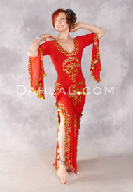 SAHARA NIGHTS Egyptian Belly Dance Dress in Red and Gold